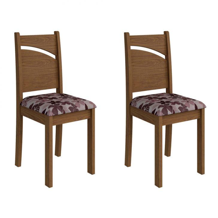 Conjunto com 2 Cadeiras Melissa Savana e Floral Bordô