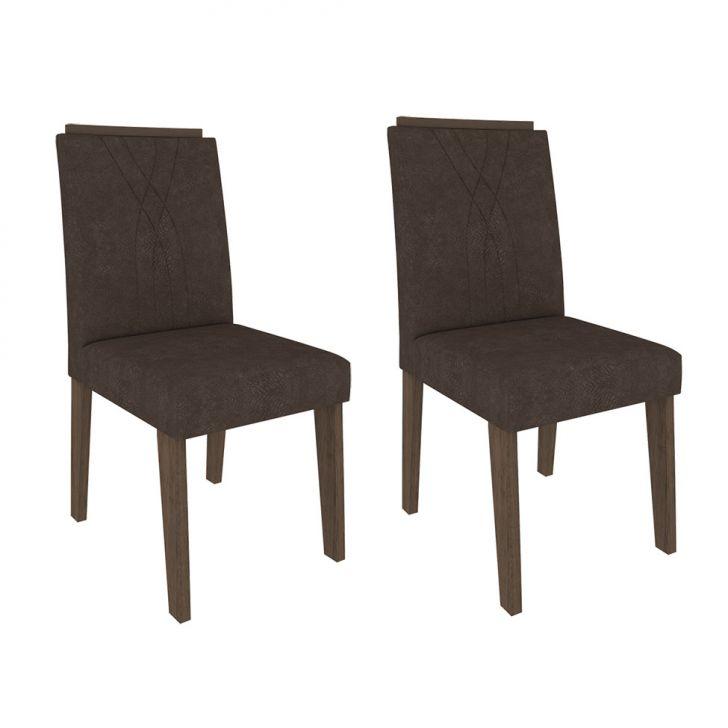 Conjunto com 2 Cadeiras Nicole Suede Marrocos e Cacau