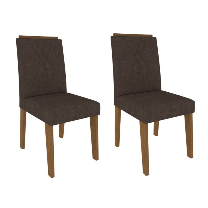 Conjunto com 2 Cadeiras Nicole Suede Savana e Cacau