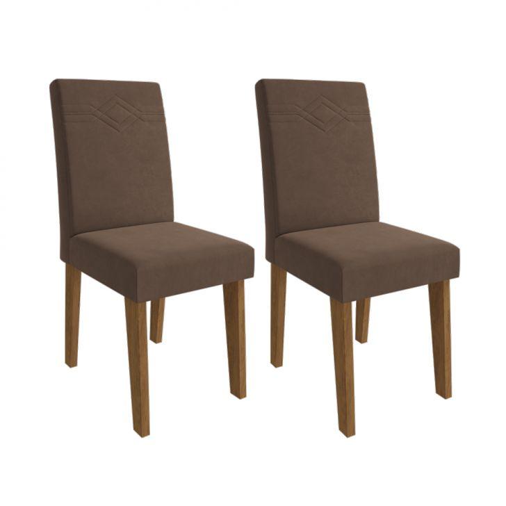 Conjunto com 2 Cadeiras de Jantar Taís II Suede Savana e Chocolate