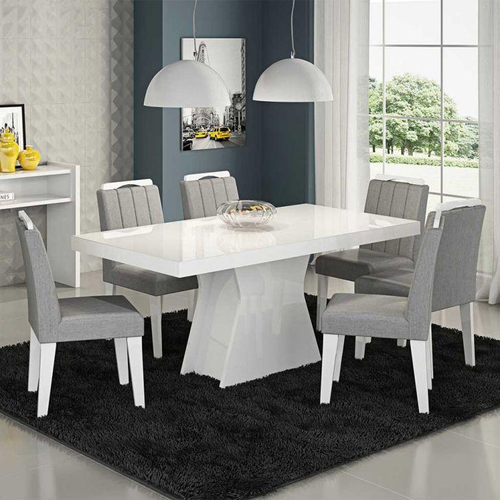 Conjunto de Mesa Olávia com 6 Cadeiras Elisa Branco e Platina