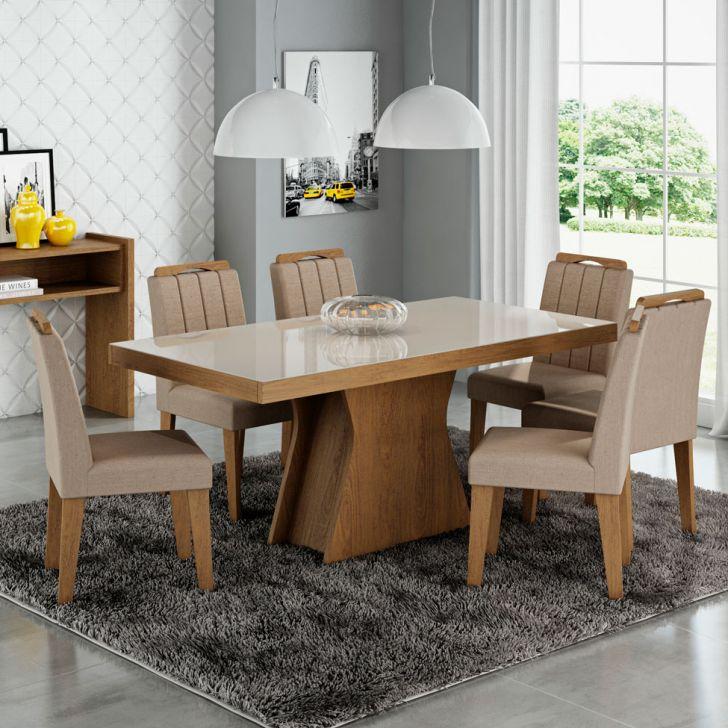 Conjunto de Mesa de Jantar Olívia com 6 Cadeiras Elisa Jacquard Savana e Canela