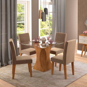 Conjunto de Mesa de Jantar Quadrada Andreia com 4 Cadeiras Milena Suede Pluma e Savana