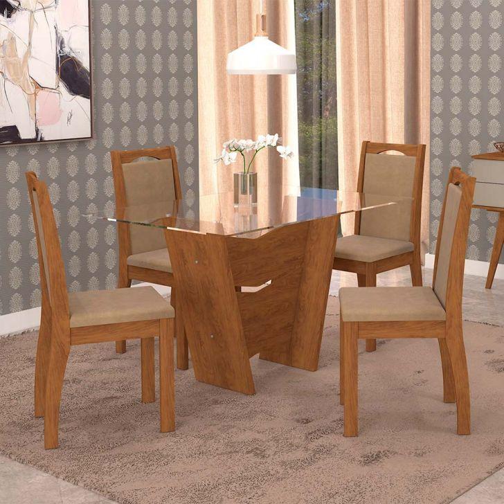 Conjunto de Mesa de Jantar Retangular Vitória com 4 Cadeiras Lívia Suede Marfim...