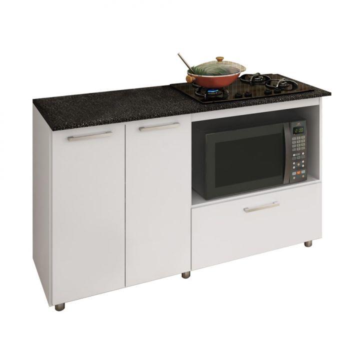 Foto 1 - Balcão de Cozinha Magda com Tampo para Cooktop 2 PT 1 GV Branco e Preto
