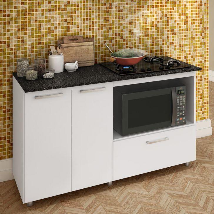 Foto 2 - Balcão de Cozinha Magda com Tampo para Cooktop 2 PT 1 GV Branco e Preto