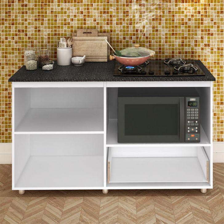 Foto 5 - Balcão de Cozinha Magda com Tampo para Cooktop 2 PT 1 GV Branco e Preto