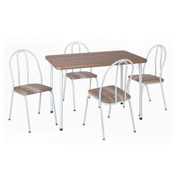 Conjunto de Mesa Andréia com 4 Cadeiras Branco