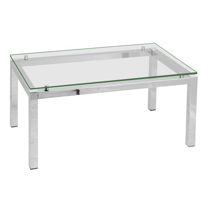 Mesa de centro retangular cromada a o transparente - Mesa centro transparente ...