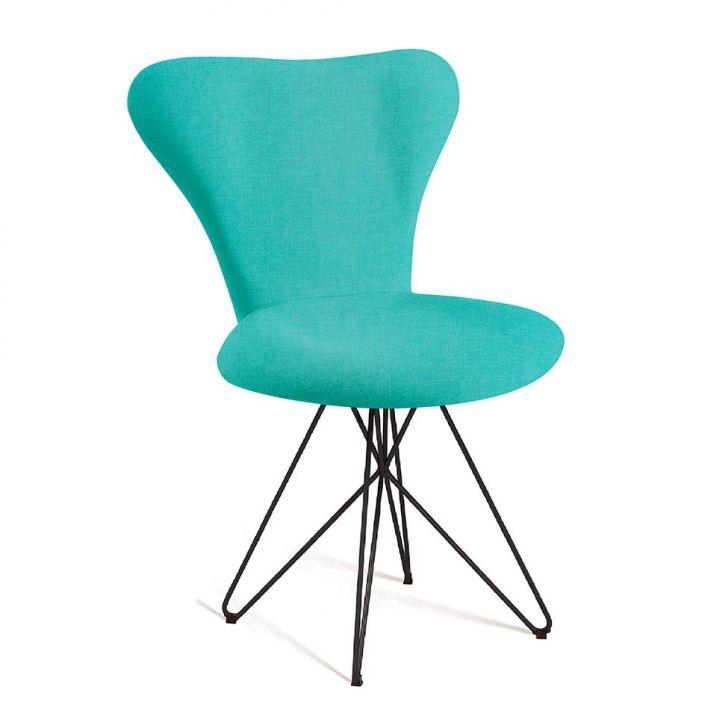 Cadeira Jacobsen Butterfly Linho Azul Turquesa