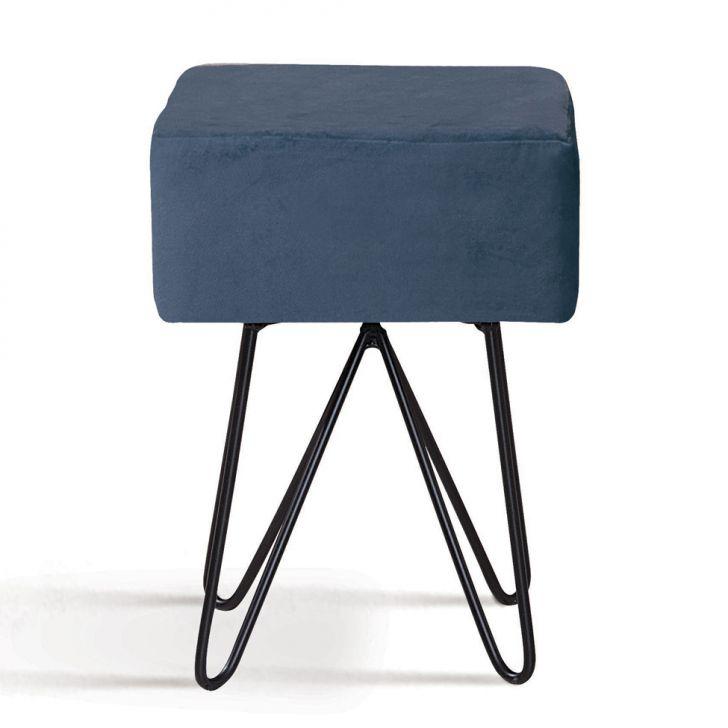 Puff Box Azul Marinho Pés em Aço Carbono