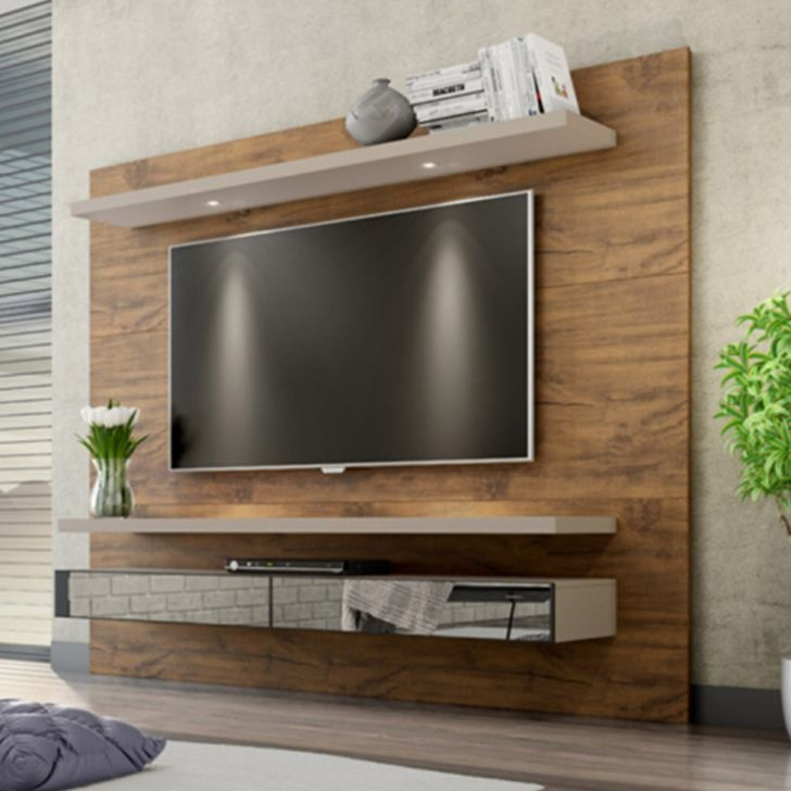Home Theater O Cinema Na Sua Casa: Home Theater Suspenso Para TV C/ 2 Gavetas Nobre/Fendi