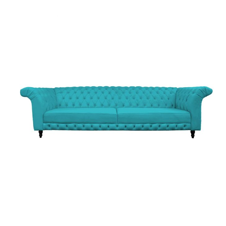 Sof stillus capiton 3 lugares decor magazine suede azul for Sofa azul turquesa