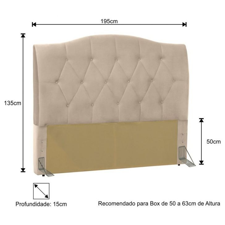 Cabeceira Cama Box Casal King 195 cm Colônia Suede Bege - D'Monegatto - Bege - 3 - thumbnail