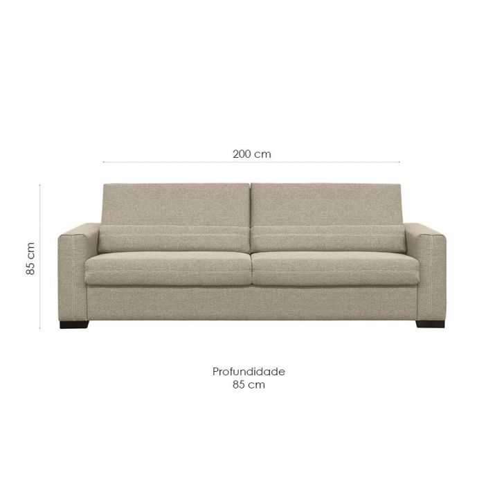 Sof 3 lugares evidence suede areia 200 cm for Couch 200 cm