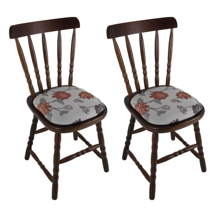 Conjunto com 2 Cadeiras Dalas Estofada Imbuia