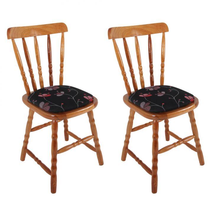 Conjunto com 2 Cadeiras Dalas Foral Preto Mel