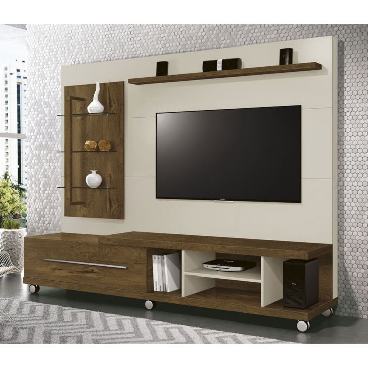 Estante para Home Theater Armany Nogal Rústico e Off White