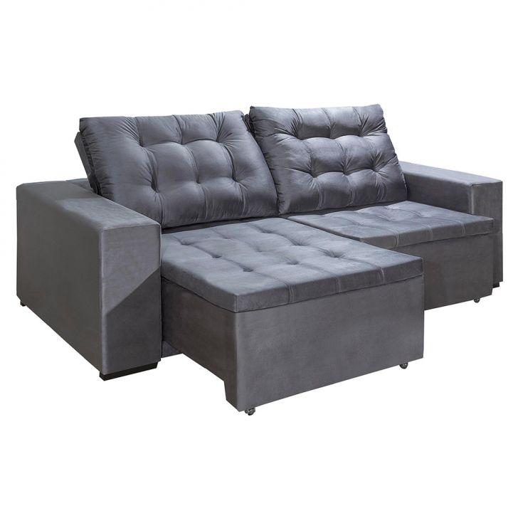 Sof 3 lugares retr til e reclin vel saletto cinza for Sofa 5 lugares reclinavel e assento retratil