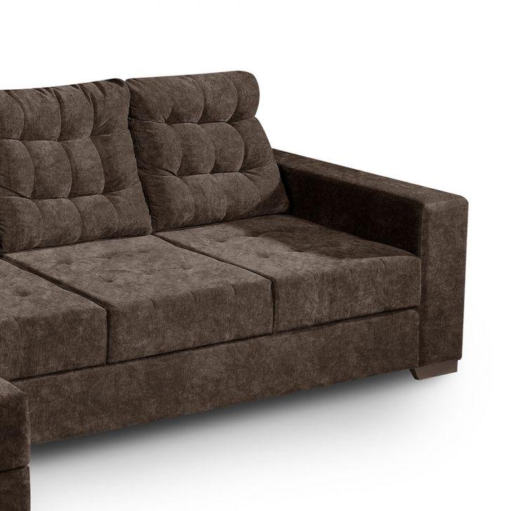 Sof 3 lugares com chaise marrocos suede amassado marrom for Sofa 5 lugares com chaise