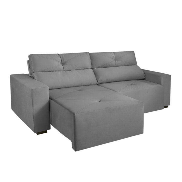 Sof 3 lugares retr til e reclin vel bueno veludo cinza for Sofa 7 lugares retratil e reclinavel firenze