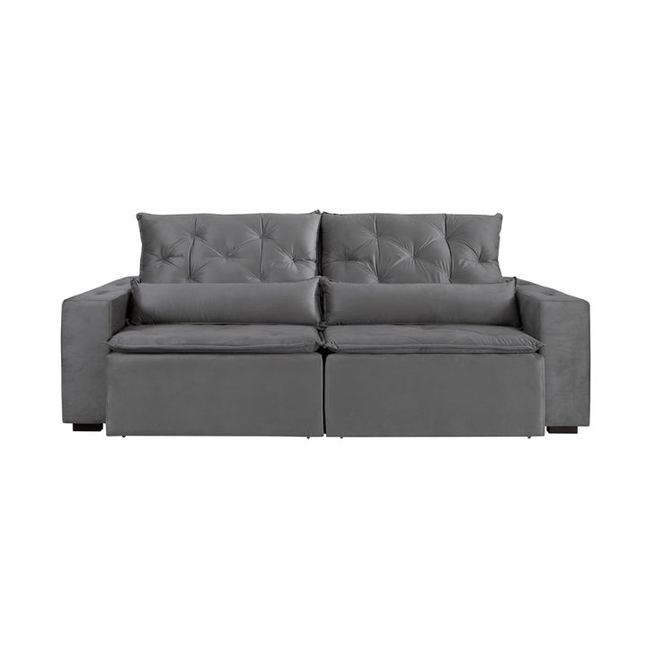 Sofá 3 Lugares Retrátil e Reclinável Macaé Veludo Cinza 250 cm