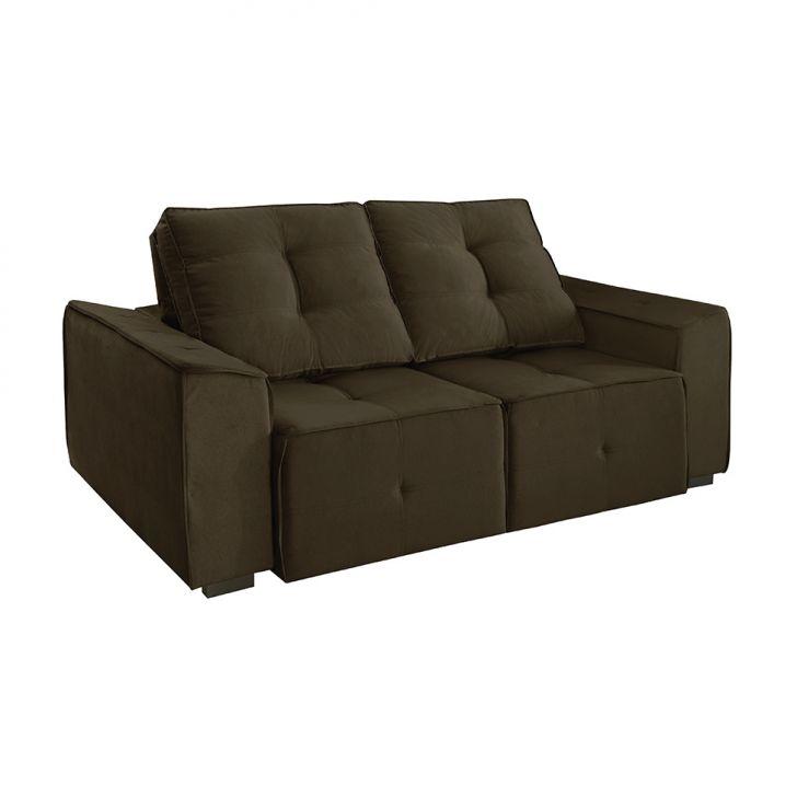 Sof 3 lugares retr til e reclin vel summer veludo marrom for Sofa 5 lugares assento retratil e encosto reclinavel