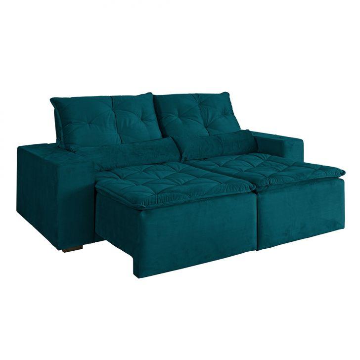 Sof 4 lugares retr til maca veludo soft verde for Sofa 4 lugares retratil