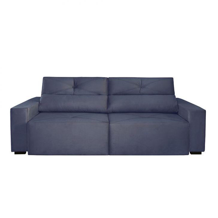 Sof 4 lugares retr til e reclin vel bueno veludo azul for Sofa 4 lugares retratil