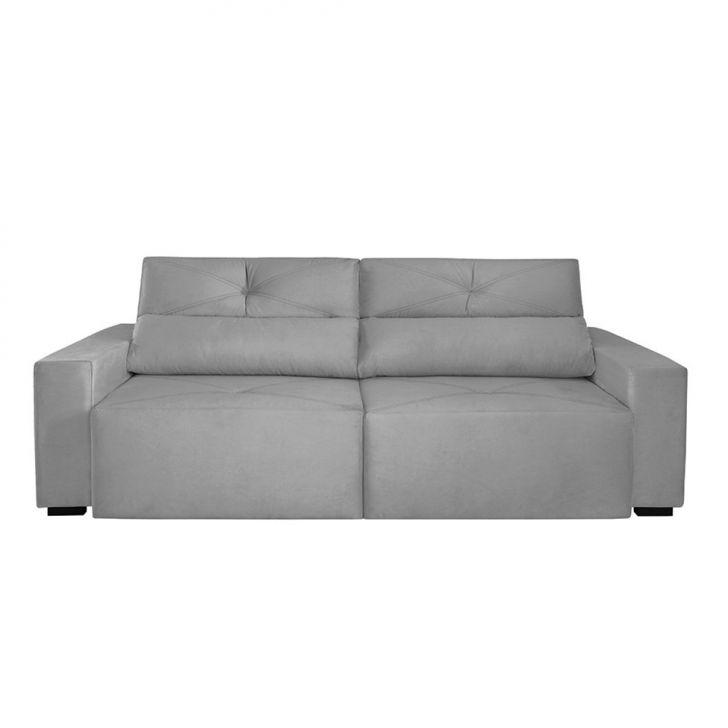 Sof 4 lugares retr til e reclin vel bueno veludo cinza for Sofa 4 lugares retratil e reclinavel