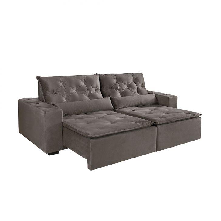 Sof 4 lugares retr til e reclin vel maca veludo soft bege for Sofa 4 lugares retratil e reclinavel