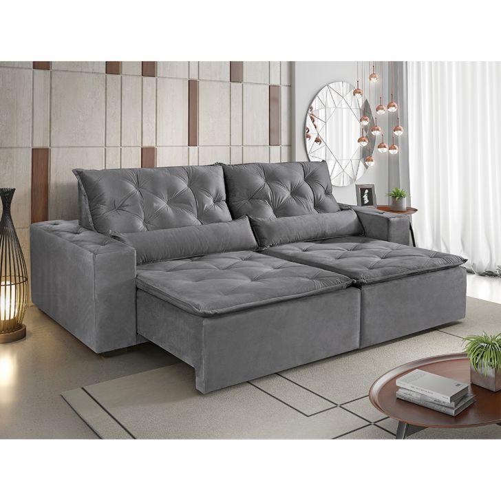 Sof 4 lugares retr til e reclin vel maca veludo soft cinza for Sofa 7 lugares retratil e reclinavel firenze