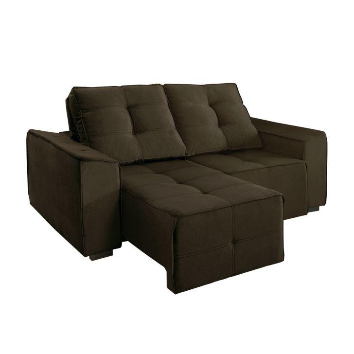 Sof 4 lugares retr til e reclin vel summer veludo marrom for Sofa 7 lugares retratil e reclinavel firenze