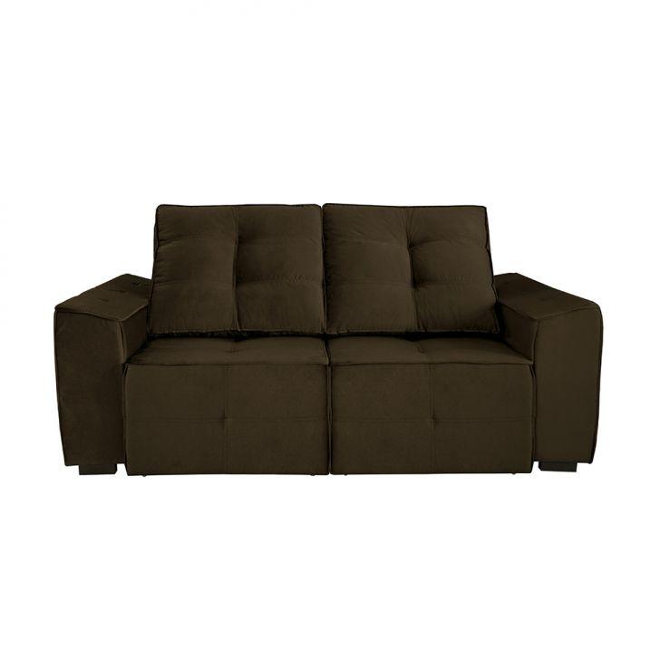 Sof 4 lugares retr til e reclin vel summer veludo marrom for Sofa 4 lugares retratil e reclinavel