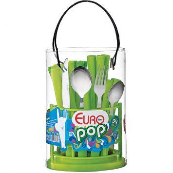 Conjunto Talheres Pop Verde 24 pçs Euro Pop