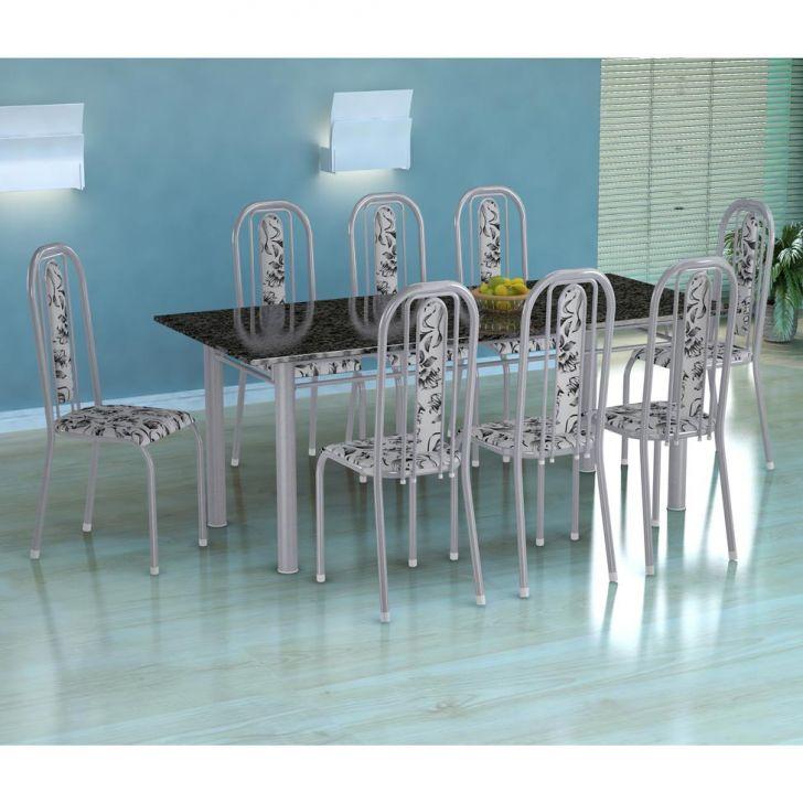 Conjunto de Mesa Cordoba com 8 Cadeiras Granada Branco Prata e Branco Floral