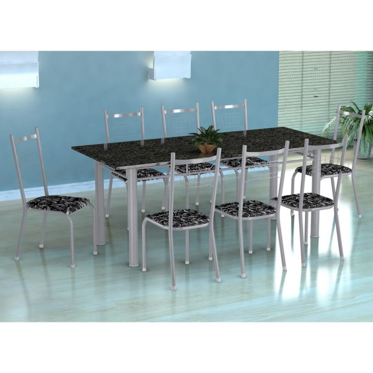 Conjunto de Mesa Cordoba com 8 Cadeiras Lisboa Preto Prata e Preto Floral