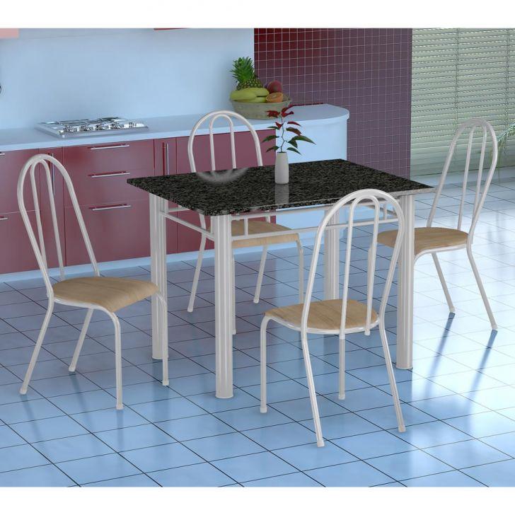 Conjunto de Mesa Genova com 4 Cadeiras Alicante Branco e Nature Bege