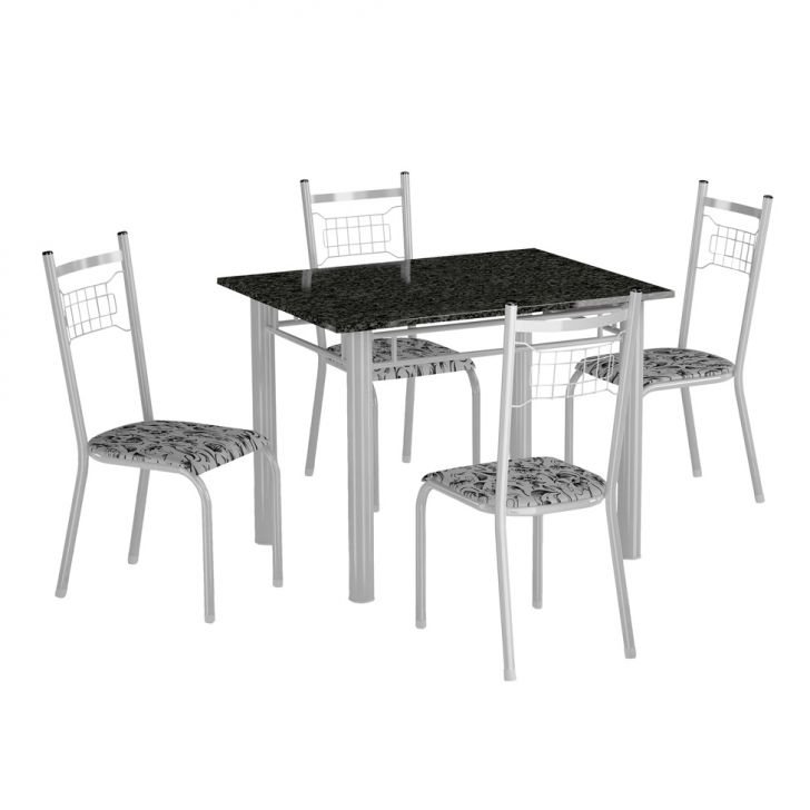 Conjunto de Mesa Genova com 4 Cadeiras Lisboa Branco e Branco Floral