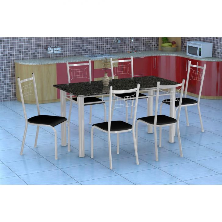 Conjunto de Mesa Granada com 6 Cadeiras Lisboa Branco e Preto Liso