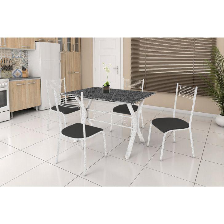 Conjunto de Mesa Miame 110 cm com 4 Cadeiras Buenos Aires Branco e Preto Liso