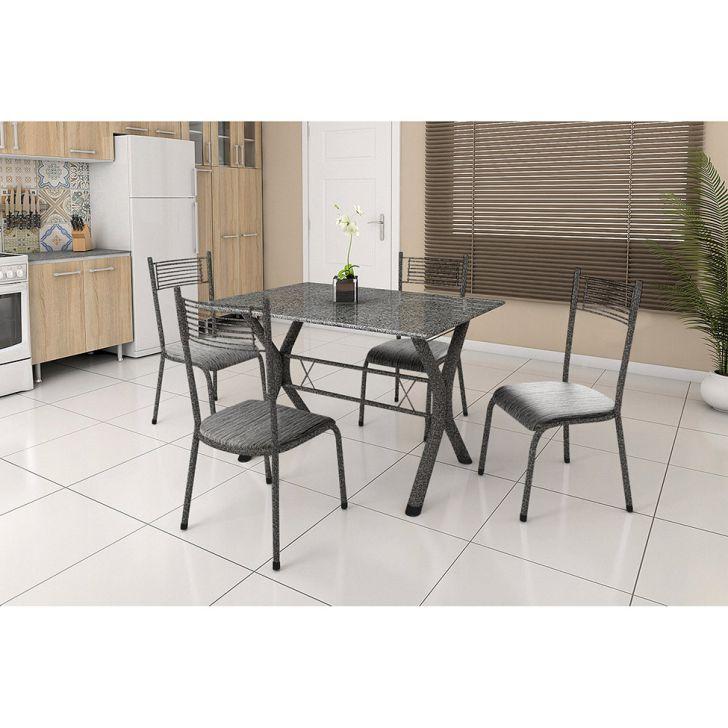 Conjunto de Mesa Miame 110 cm com 4 Cadeiras Buenos Aires Preto e Cinza Rajado