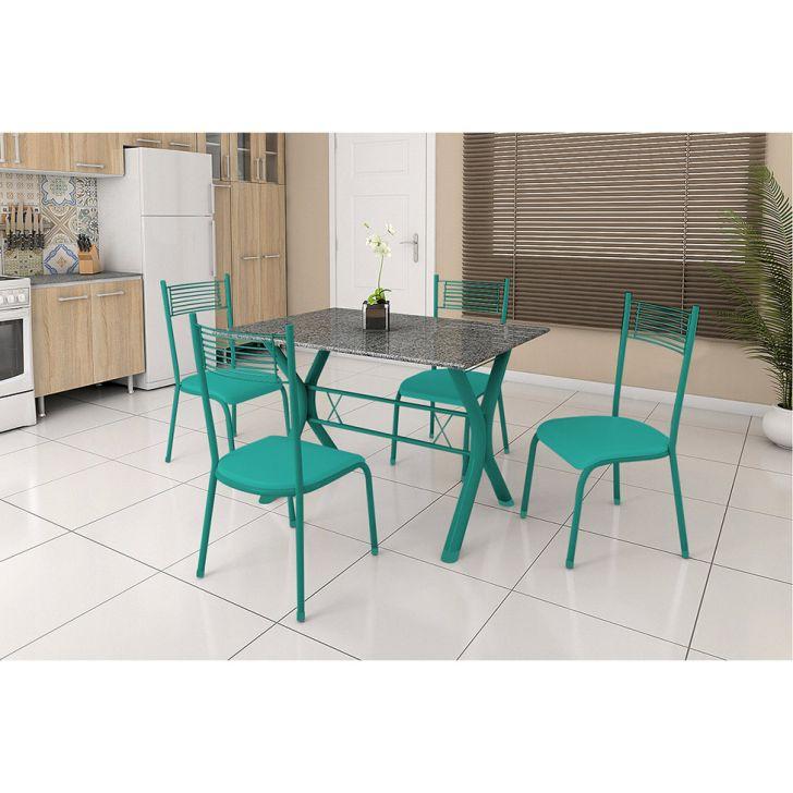 Conjunto de Mesa Miame 110 cm com 4 Cadeiras Buenos Aires Verde