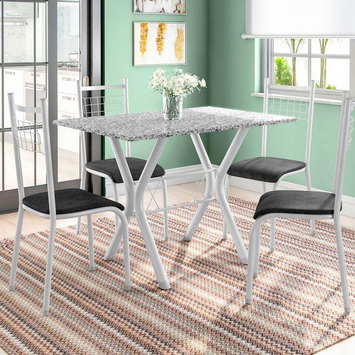 Conjunto de Mesa Miame 110 cm com 4 Cadeiras Lisboa Branco e Mesclado Petróleo