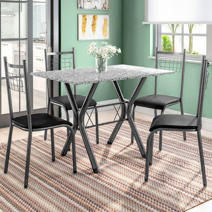 Conjunto de Mesa Miame 110 cm com 4 Cadeiras Lisboa Preto e Preto Liso