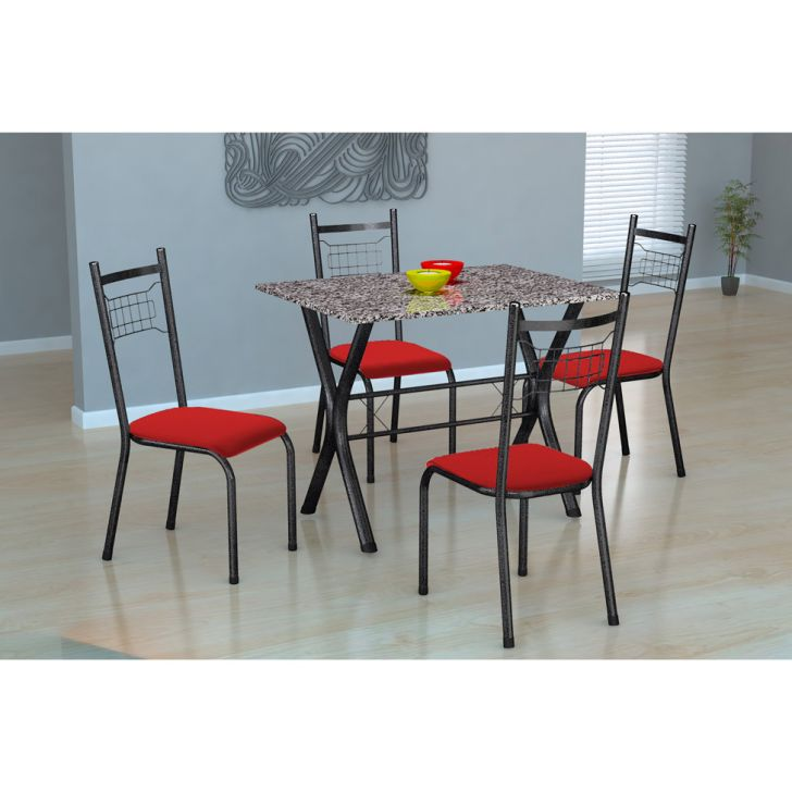 Conjunto de Mesa Miame 110 cm com 4 Cadeiras Lisboa Preto e Vermelho