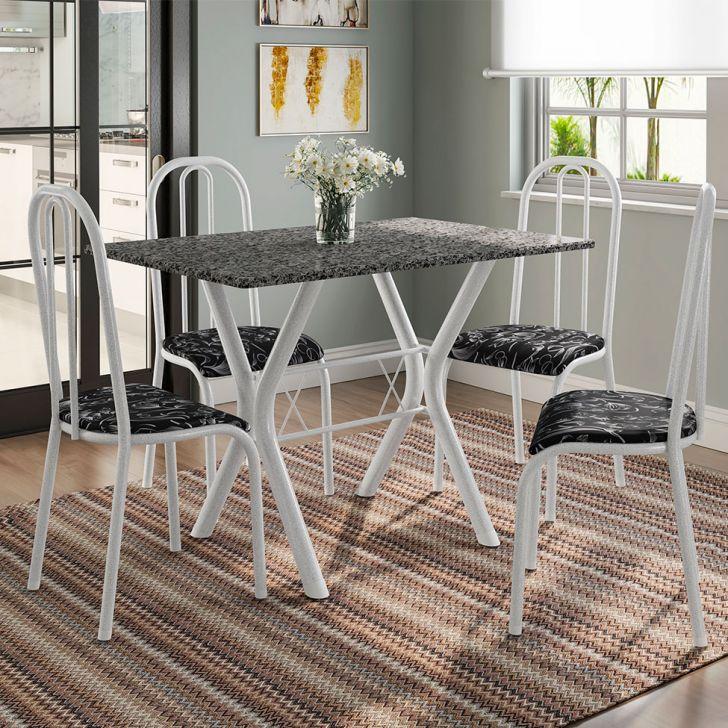 Conjunto de Mesa Miame 110 cm com 4 Cadeiras Madri Branco e Preto Floral