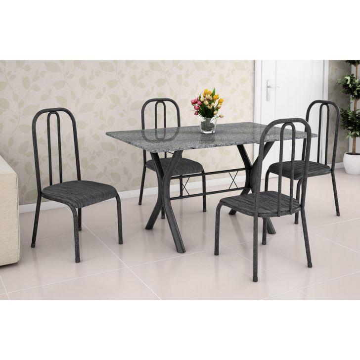 Conjunto de Mesa Miame 110 cm com 4 Cadeiras Madri Preto e Cinza Rajado