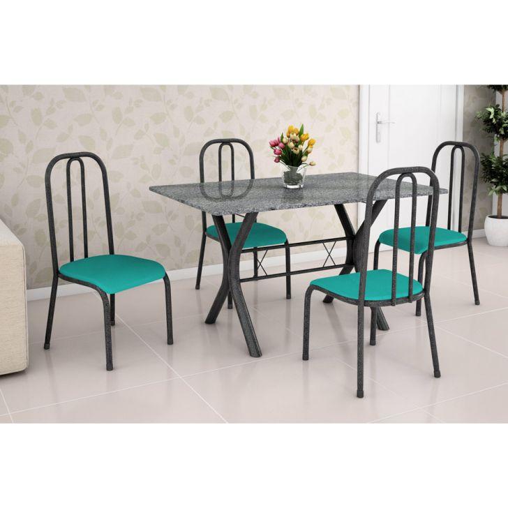 Conjunto de Mesa Miame 110 cm com 4 Cadeiras Madri Preto e Verde