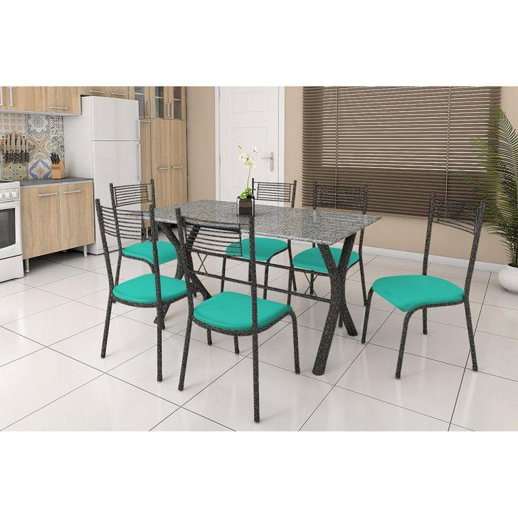 Conjunto de Mesa Miame 150 cm com 6 Cadeiras Buenos Aires Preto e Verde